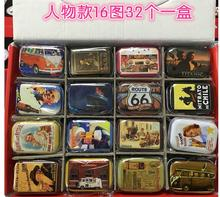 32pcs/lot Vintage Style Person series Mini Tin Box Coin Saver Jewerly Case 16 designs