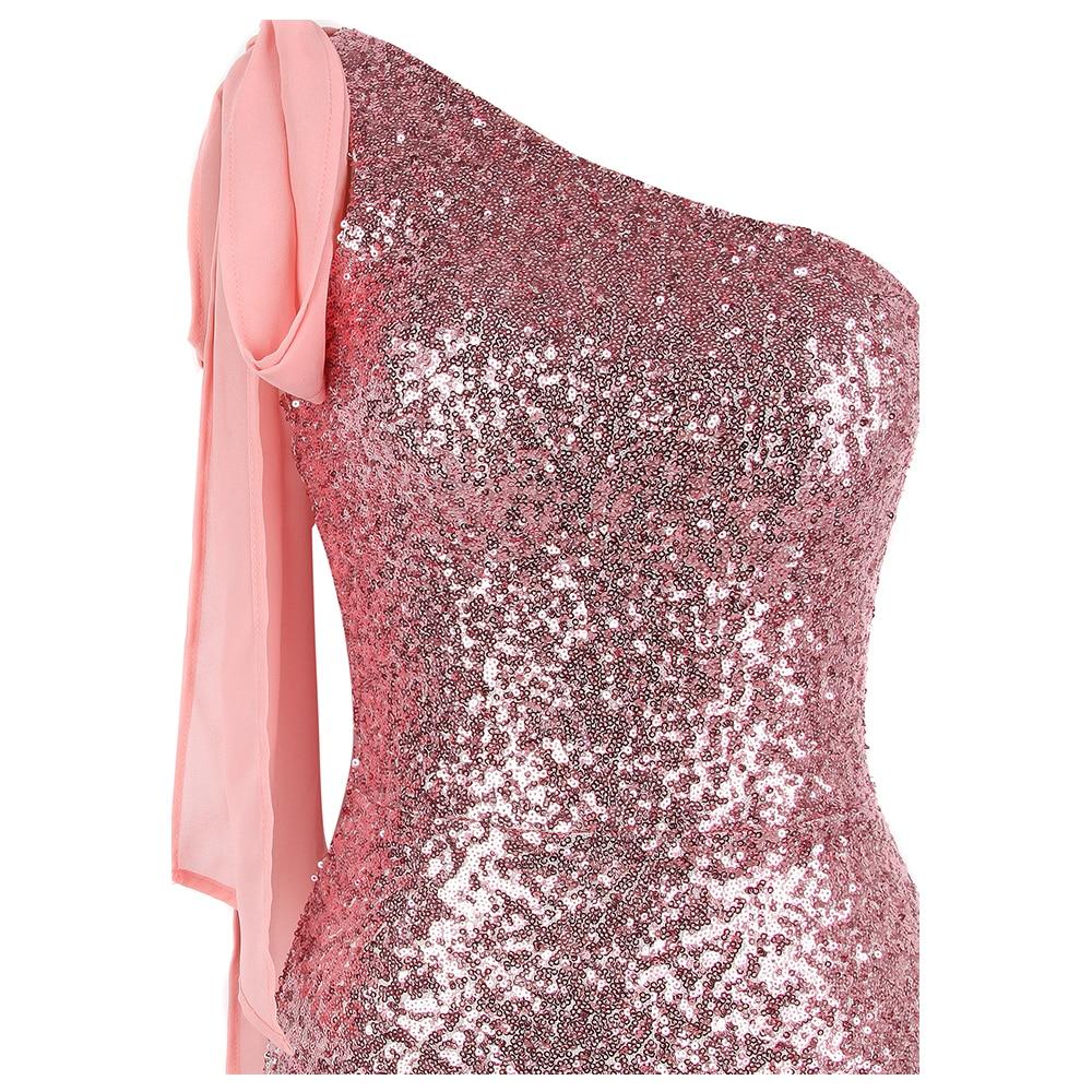 Angel fashions Women's One Shoulder Sparkly Sequin Gradient Splicing Slit Evening Dress 286 Green Gold - 4