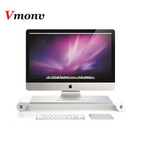 Vmonv UK/EU Plug Notebook Stand Aluminium Laptop Stand Holder Computer Monitor TV Stand USB Charger Entertainment Center Storage