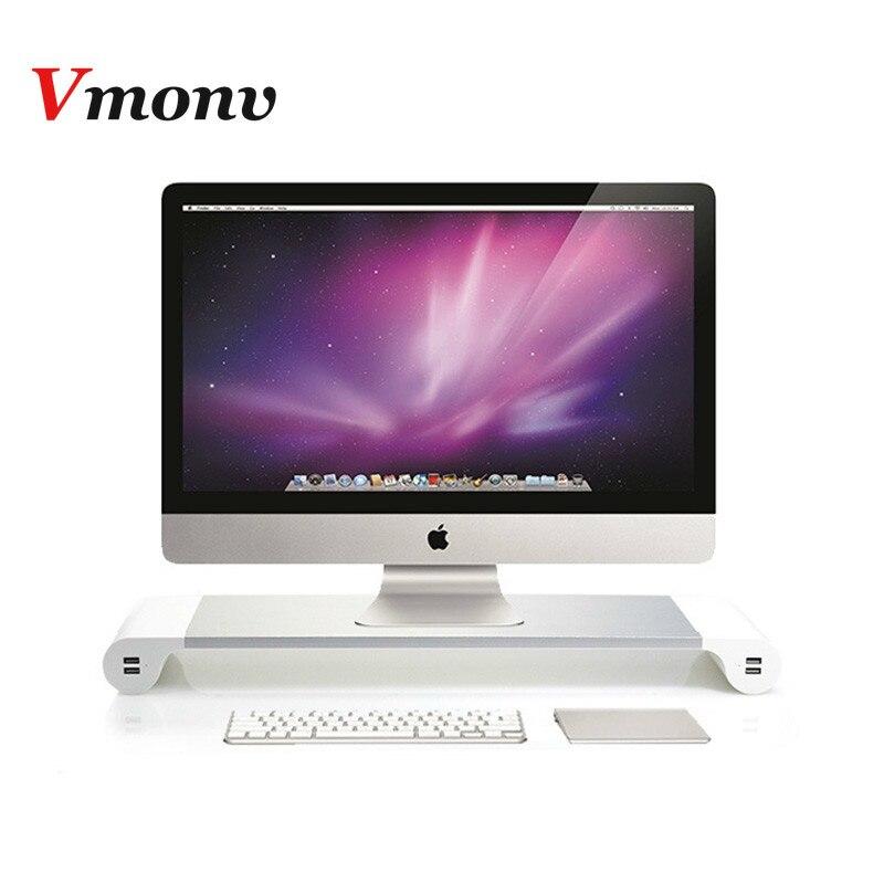 Vmonv UK/EU Plug support pour ordinateur portable support d'ordinateur portable en Aluminium moniteur d'ordinateur support TV support USB chargeur Center de divertissement stockage
