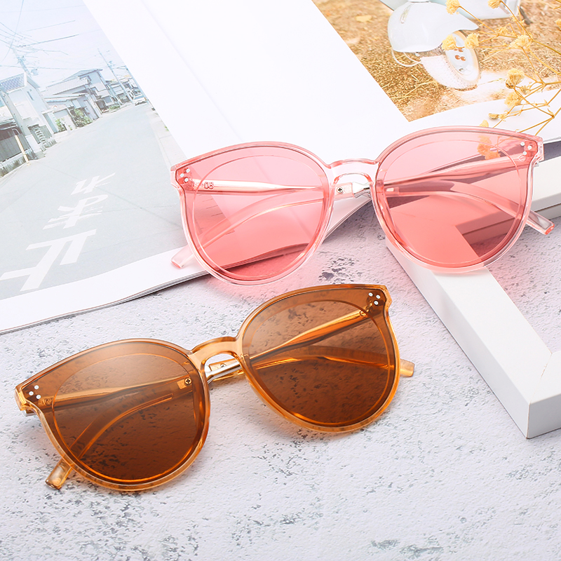 2019 New Sunglasses Rice Nail Round Frame Korean Street Shooting Men And Women Sunglasses  Pink Glasses