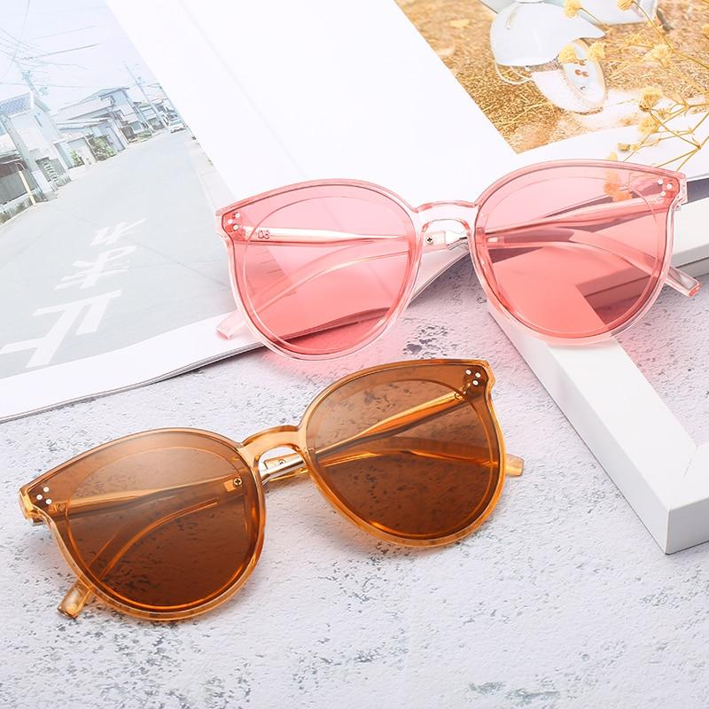2019 New Sunglasses Rice Nail Round Frame Korean Street Shooting Men And Women Sunglasses  Pink Glasses