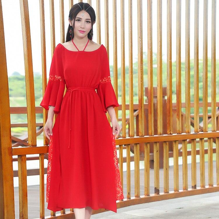 D'été Han Style Balançoire Robe Printemps Poésie Et Rouge Femmes Chinois Littéraire Tradition Bretelles Grande Cordon 2018 Folk qEwWPOnP
