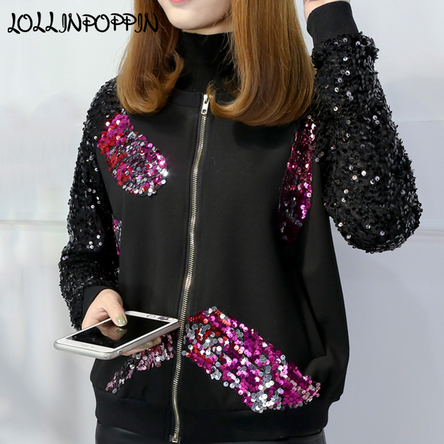 a8f84abc509 Plus Size Women Sequin Bomber Jacket O-Neck Colorful Sequined Black Jacket  New 2019 Spring Ladies Sequin Coat Free Shipping. Anniversary Sale US ...