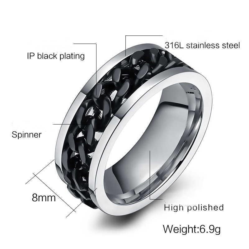 Punk rock แหวนผู้ชาย 316L สแตนเลสสตีลสีดำแหวนหมุนได้แหวนสุภาพสตรีปรับแหวนคู่เครื่องประดับงานแต่งงาน