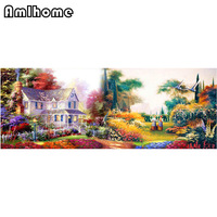 AMLHOME Needlework Diamond Embroidery Villas And Swans Diamond Painting Cross Stitch Picture Of Rhinestone Full Drill