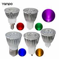 1 piezas Super brillante 9 W 12 W 15 W GU10 MR16 E27 E14 E12 bombillas LED foco LED regulable bombilla 220 V DC 12 v 8 coloridas lámparas de luz descendente