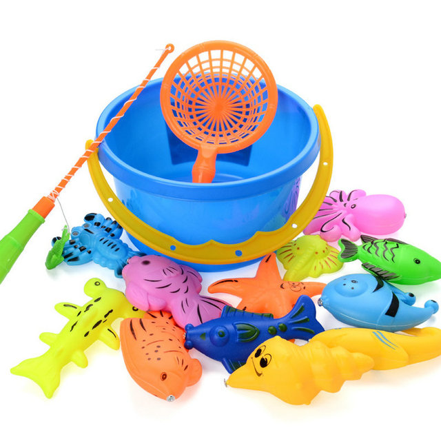 73PCS/LOT Magnetic Fishing Toy With Inflatable pool Rod Net Set For Kids Child Model Play Fishing Gamesl Outdoor Pool Toys