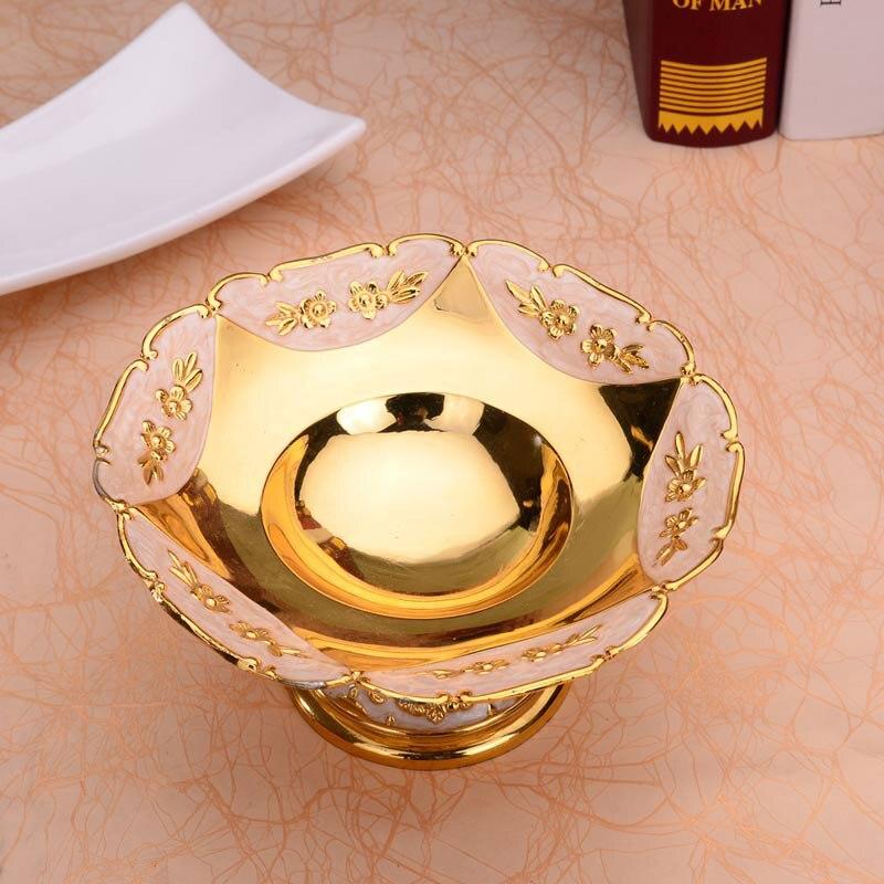 Assiettes européennes rondes en Or brillant | Assiette à fruits, assiette à Dessert, plateau à fruits doux plats à fleurs pour le mariage ou la fête - 2