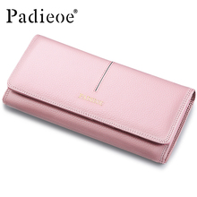 Padieoe Women's Genuine Leather Long Wallet Fashion Designer Coin Purse Famous Brand Clutch Bag Phone Card Holder for Female