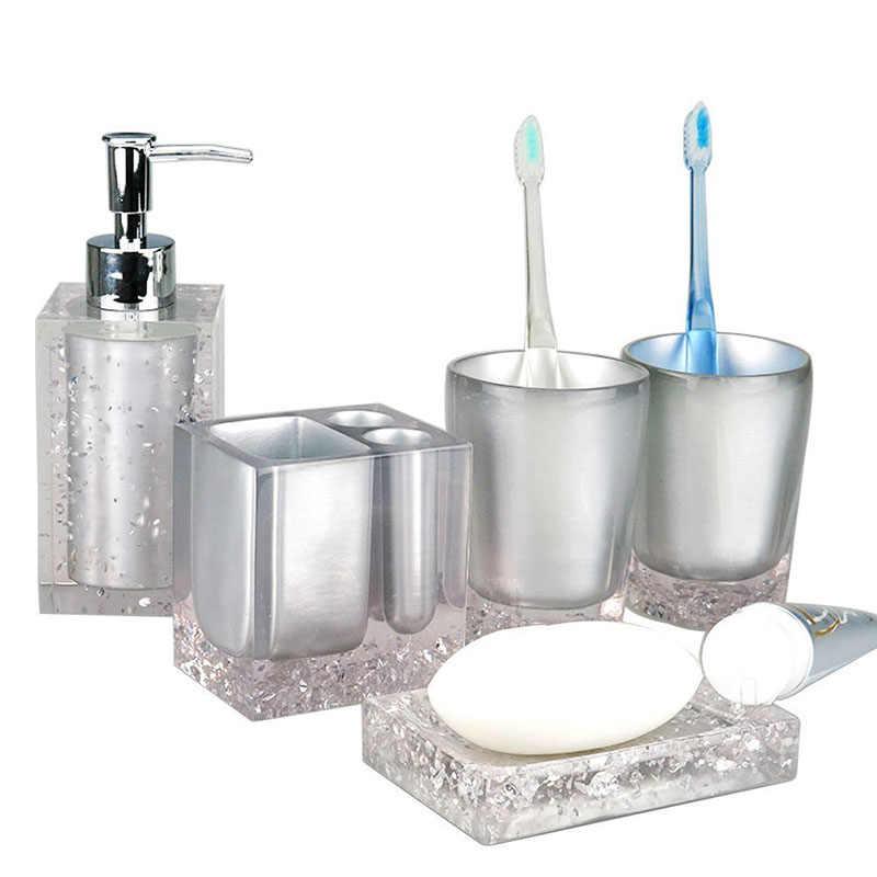 5 sztuk żywicy zestaw do kąpieli akcesoria łazienkowe mydelniczka + szczoteczka do zębów uchwyt + pompa dozownika balsamu + kubki @ LS