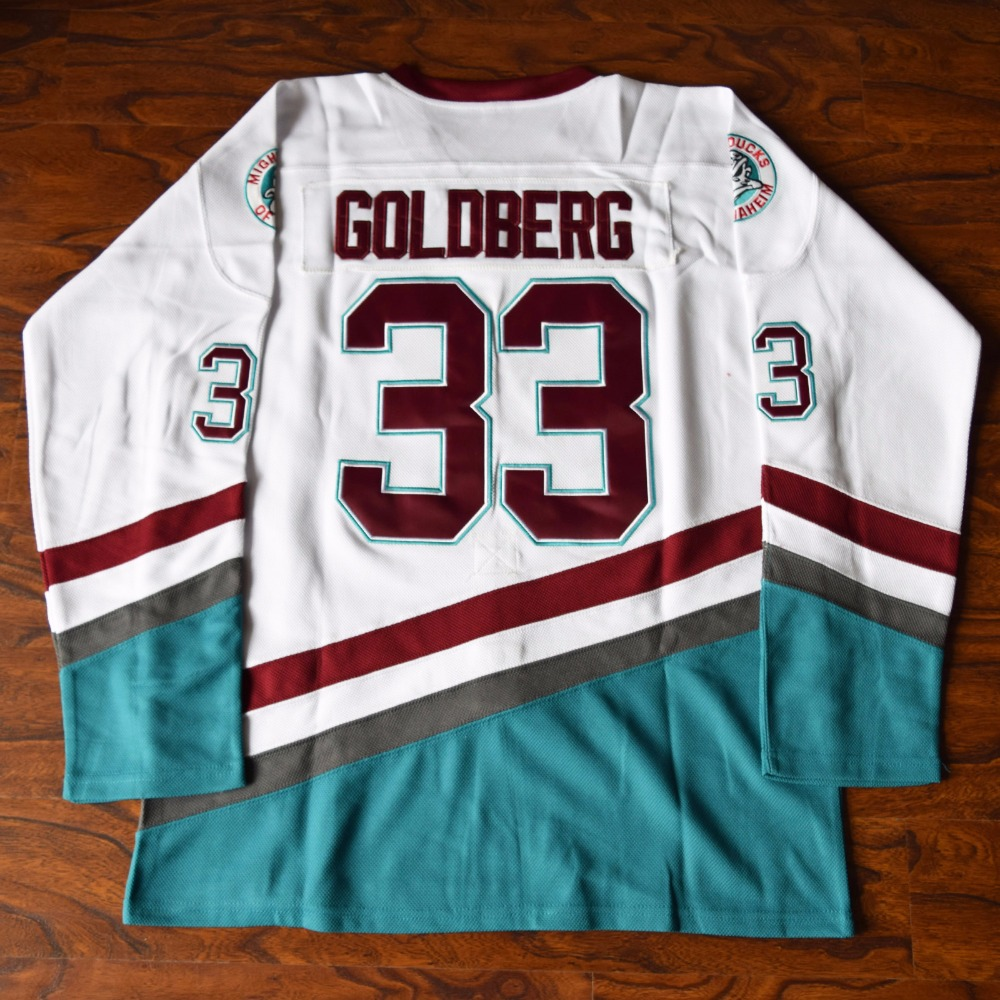 MM MASMIG Greg Goldberg #33 Mighty Ducks Ice Hockey Jersey Stitched White