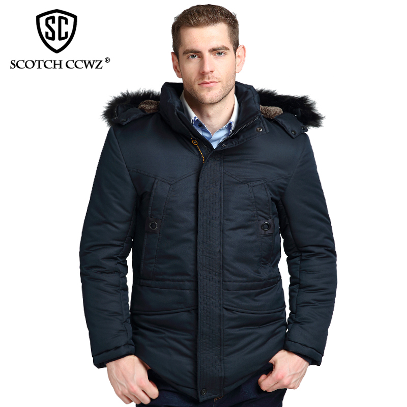 SCOTCH CCWZ Brand Winter Jacket Men Parkas Warm Business Thick Padded Jackets And Coats For Men Clothing Overcoat Outerwear 9921 2017 male parkas outwear coats fashion parkas casul winter jacket men warm brand clothing casaco masculino padded thick coat