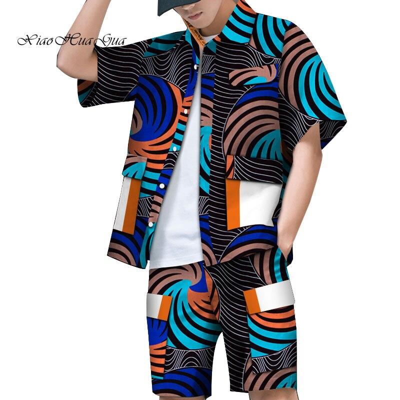 Imprimé africain vêtements hommes chemise + pantalon court ensembles à manches courtes hauts et pantalon court patchwork design chemise africaine ensembles wyn868