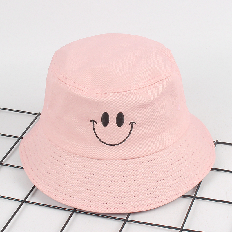 a8dec229464 Cute Smile face Embroidery Bucket Hat for women men panama summer Bob flat Caps  Hip Hop Gorros panama for girls boonie hat-in Bucket Hats from Apparel ...