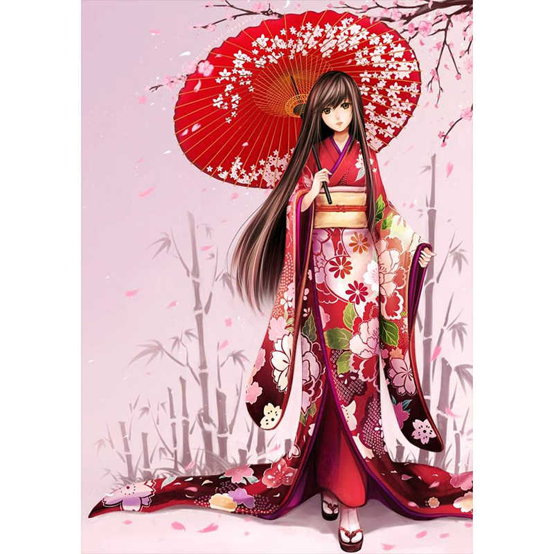 Full Diamond Embroidery Japanese girls Diy Diamond Painting Cross Stitch Kits 5D Diamond Mosaic Crafts Home Decor