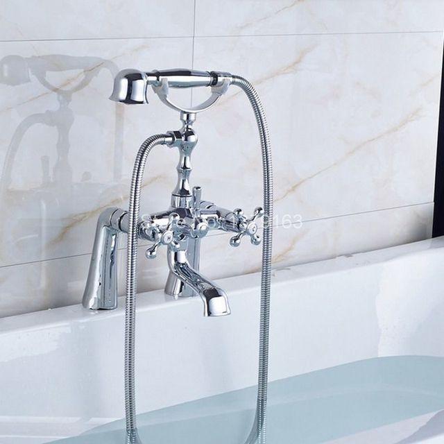 Polished Chrome Brass Double Cross Handles Deck Mounted Bathroom Clawfoot  Bathtub Tub Faucet Mixer Tap W
