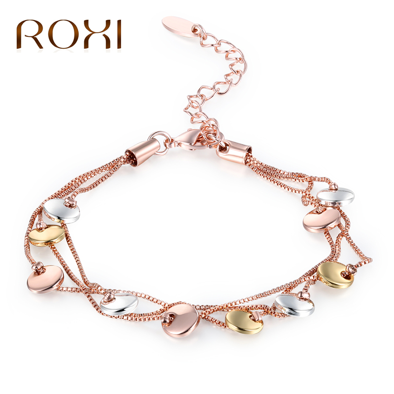 ROXI Charm Bracelets 3 Color Small Round Rose Gold Color Multilayer Chain Bracelets For Women Fashion Jewelry pulseira masculina