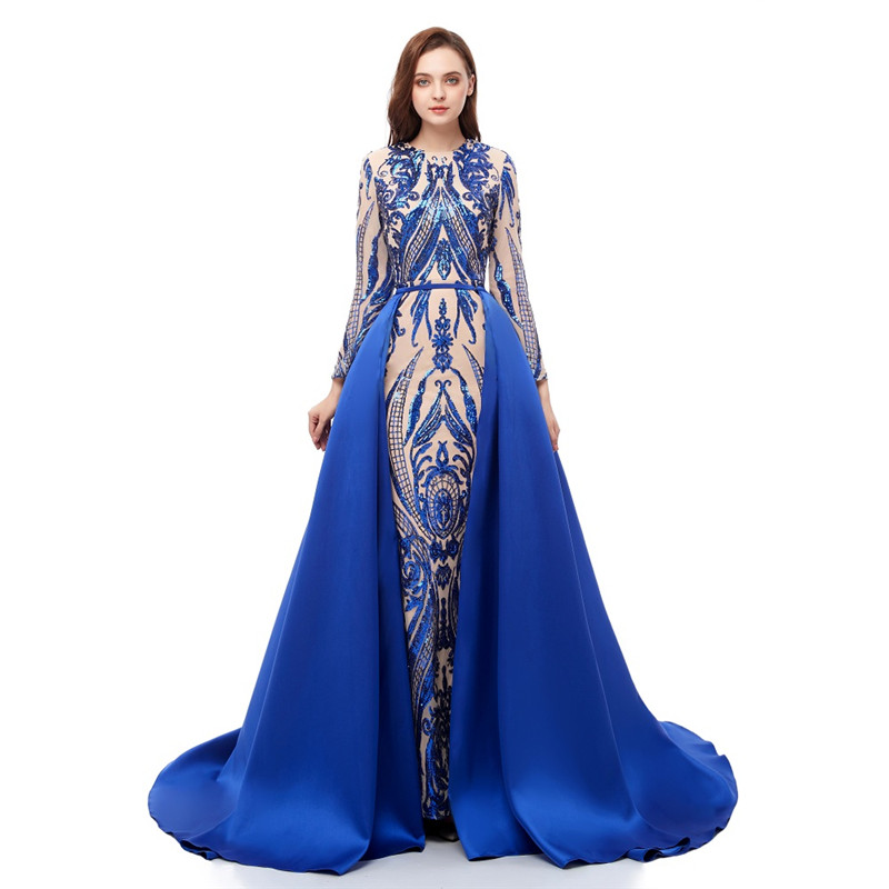 Royal blue   prom     dresses   with detachable train Sequin mermaid   prom     dress   2019 Red Satin Long sleeves evening gowns robe de soiree