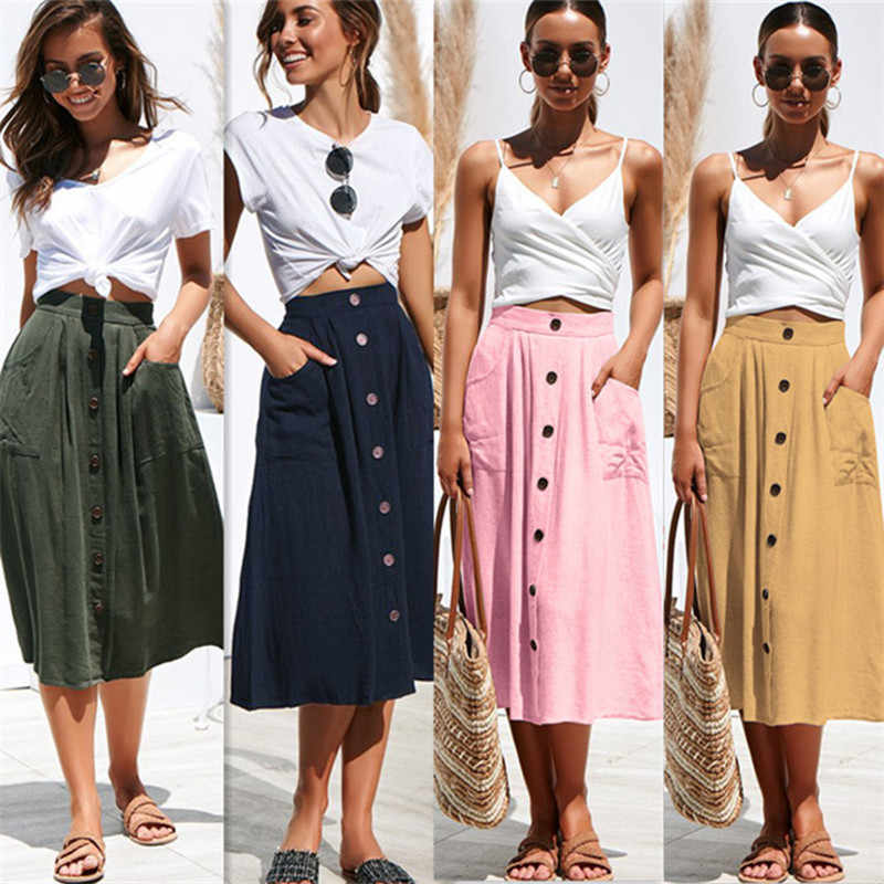 Hot Sale 2019 Summer Casual Women Midi Skirt High Waist Pure Color Single Breasted Buttons with Pocket Cotton Skirt Female