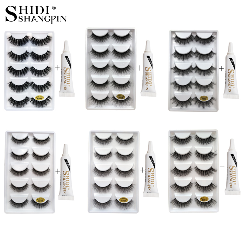 SHIDISHANGPIN 3d mink false eyelashes hand made 3d mink eyelashes 1cm-1.5cm eyelash extension natural long lashes with glue