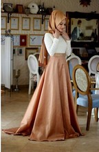 2016 Muslim Evening Dresses A-line High Collar Champagne Long Sleeves Islamic Dubai Abaya Kaftan Long Evening Gown Prom Dress