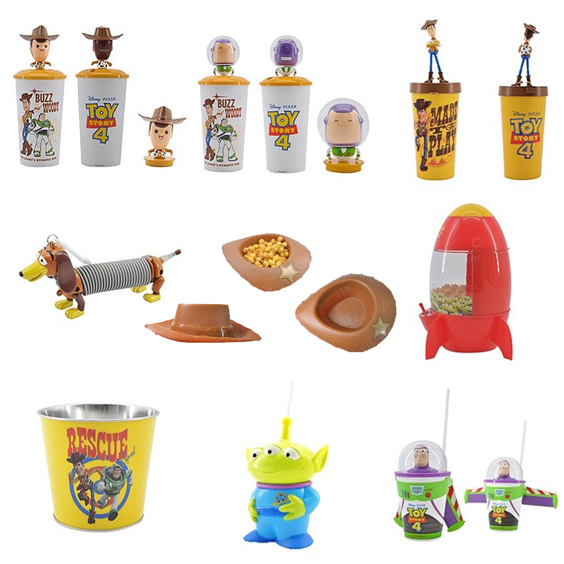 Original Toy Story 4 WOODY Shaking Head Cups BUZZ LIGHTYEAR Popcorn Cups and Buckets Disney Movie Toy Story Kids Gift Collection