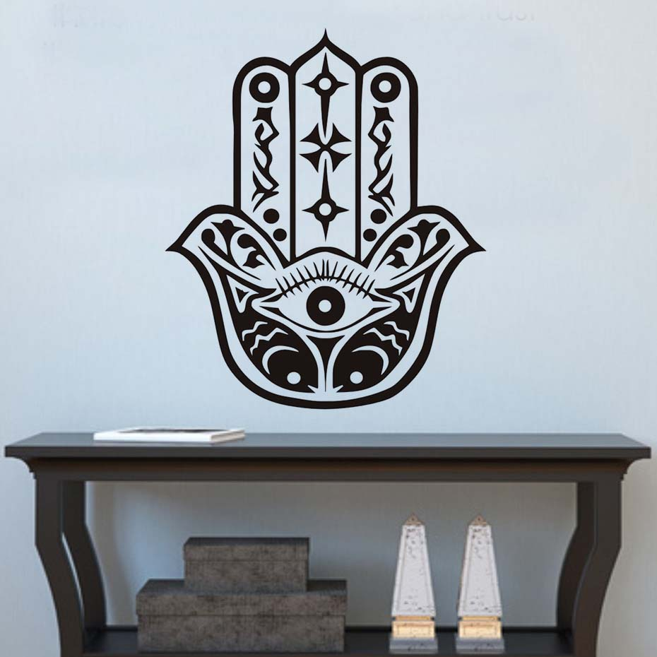 Dctop vinyl home decor indian buddha fatima hands wall stickers dctop vinyl home decor indian buddha fatima hands wall stickers hamsa hand yoga eye wall decals background for bedroom in wall stickers from home garden amipublicfo Images