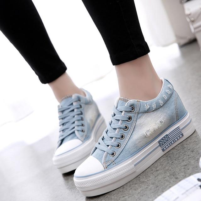 Новая Мода Женщины Джинсовый Холст Возрастания Высоты Обувь Лифт Обувь Женщины Леди Повседневная Обувь Женские Пятки Поднял Обувь для Женщин