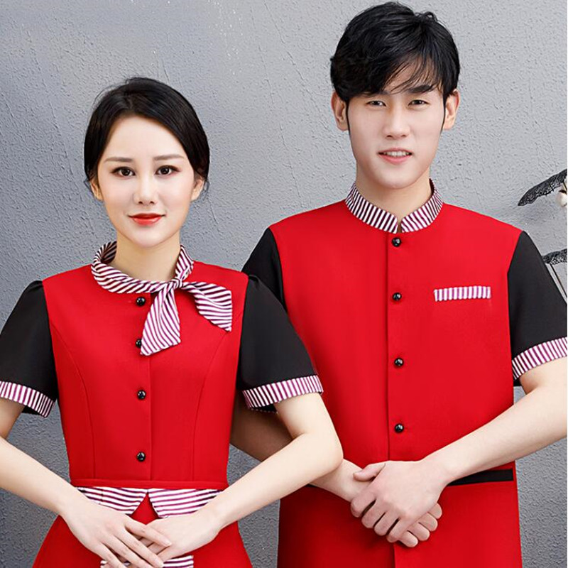 Waiter's Workwear Short-sleeved Women's Restaurant Cake Fast Food Waitress Coat Uniform Hot Pot Catering Plus Size Jacket H2140