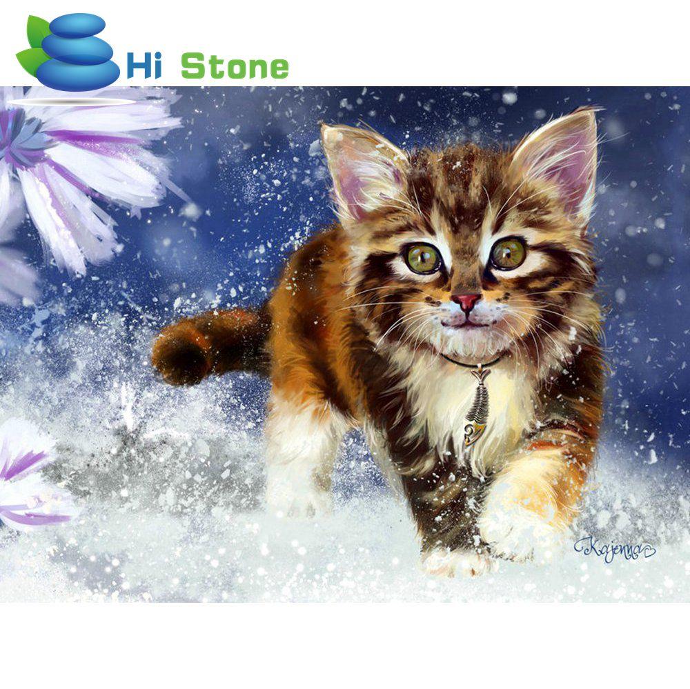 Снежный Кот Вышивка с кристаллами EHOME Декор 5D DIY Алмазная мозаика подарок для Для женщин полный алмазов вышивки 70179