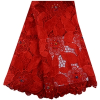 Beaded African Lace Fabrics 5 Yard Red Guipure Lace Fabric 2018 High Quality African Cord Lace Fabric For Wedding Dresses 1016