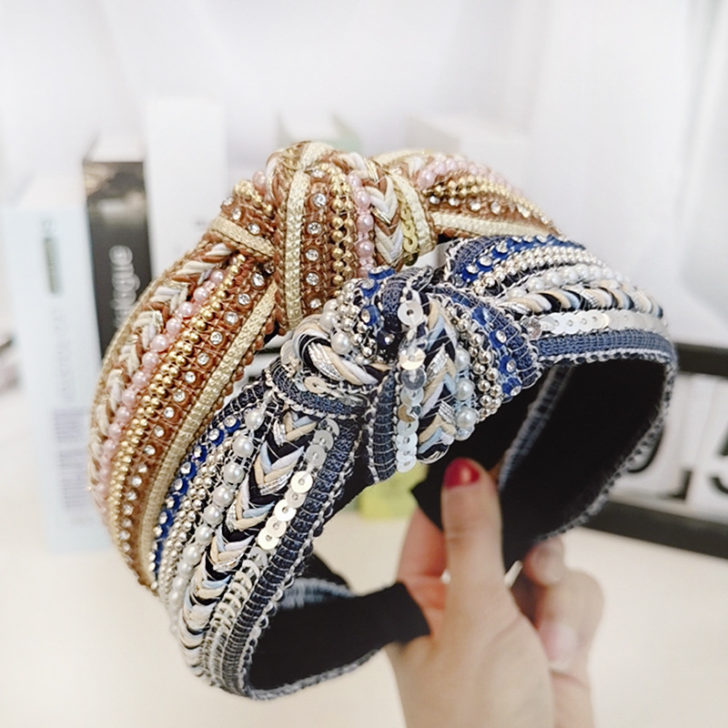 Weave Crystal Pearl Knot Headbands For Women Bow Hairbands Bohemia Hair Accessories Flower Hair Bands For Women Head Wrap