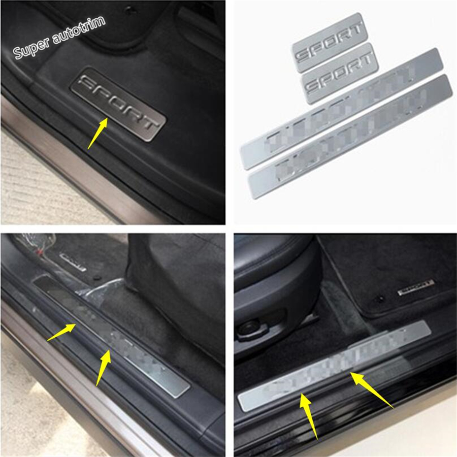 Lapetus Accessories Scuff Plate Door Sill Guard Welcome Pedal 4 Pcs For Land Rover Discovery Sport 2015 - 2018 Stainless Steel