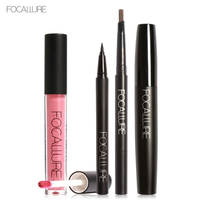 Focallure 4pc Makeup Set Including Sexy Tint Lip Gloss Paint Black Mascara Waterproof Eyeliner Auto Brows