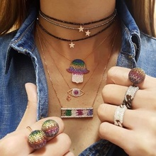 2019 new arrived Bohemia colorful cz paved hamsa hand Turkish evil eye design big Hand Boho fashion necklace