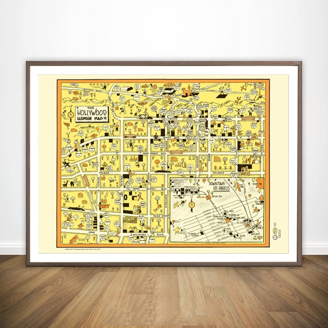Hollywood 1940s California La Dwntwn Map Movie Wall Art Paint Wall