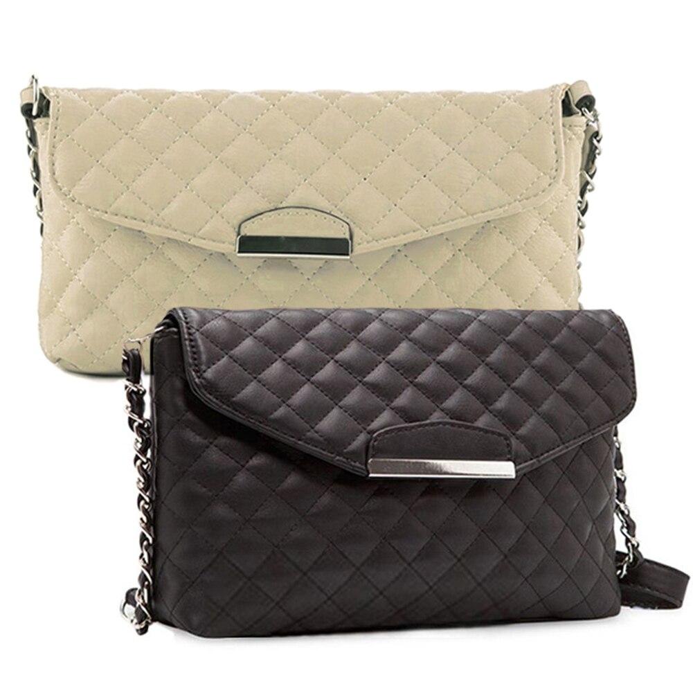 Women Crossbody Bags PU Leather Handbag Luxury Quilted Plaid Chains Shoulder Bags Ladies Small Messenger Bag Black Beige ~