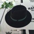 Lana, doble casquillo del jazz del sombrero negro M estándar verde negruzco cinta