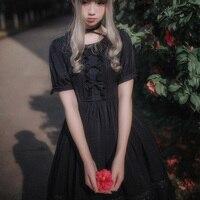 Harajuku Lolita Doce Mori Menina Vestido Roupas Femininas Sólido Branco preto Arco O Pescoço de Manga Curta Império Vestido de Cintura Da Princesa U324