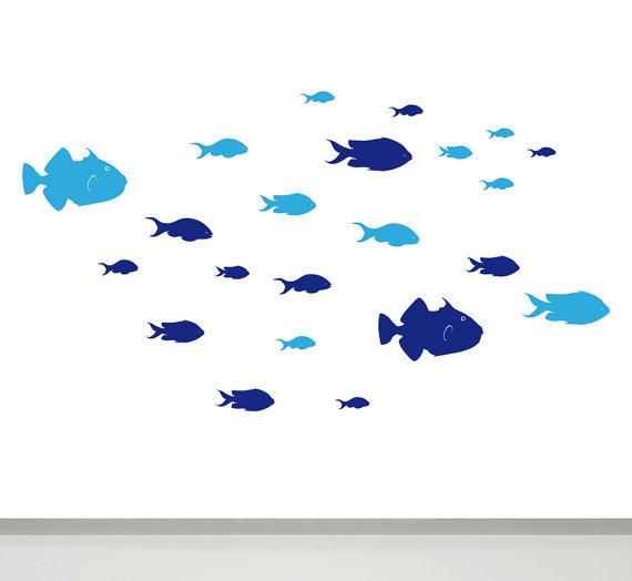 Fisch Wand Aufkleber Set Von 24 Fische Aufkleber In Zwei Farben Kinder Badezimmer  Aufkleber Kinder