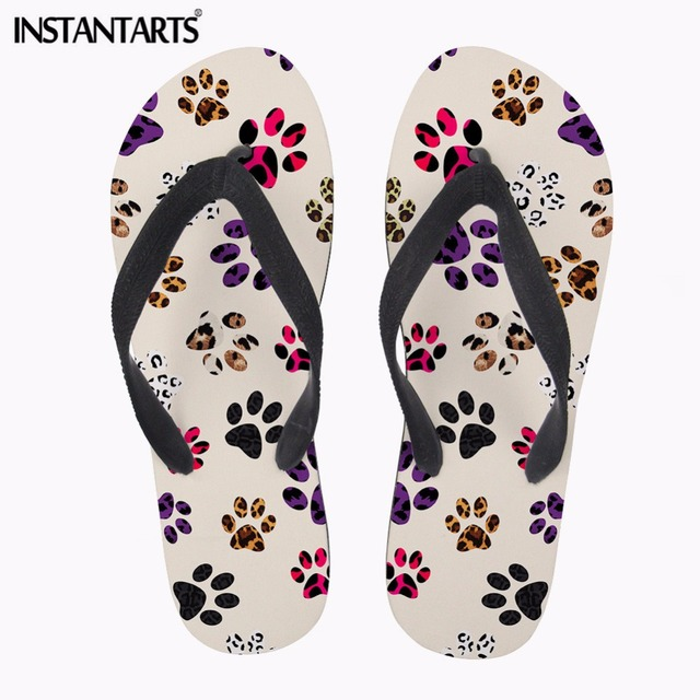 762160d57a44 INSTANTARTS 2018 Summer Women Outside Slippers Fashion Summer Flat Flip  Flops Cute Cartoon Printing Woman Rubber Flipflops Girls