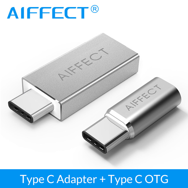 AIFFECT 2 Pcs Type C to USB 3.0 Type A Adapter OTG Converter,Type C Adapter to Micro USB Adapter type-C to Micro B Converter