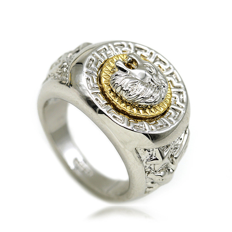 ring size product solid large yellow gold rings head heavy handcarved new mens lion