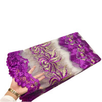 New Arrivals African Lace Fabric Net Cloth Latest African Laces 2017 Fashionable Purple Color Embroidered Tulle Lace Fabric