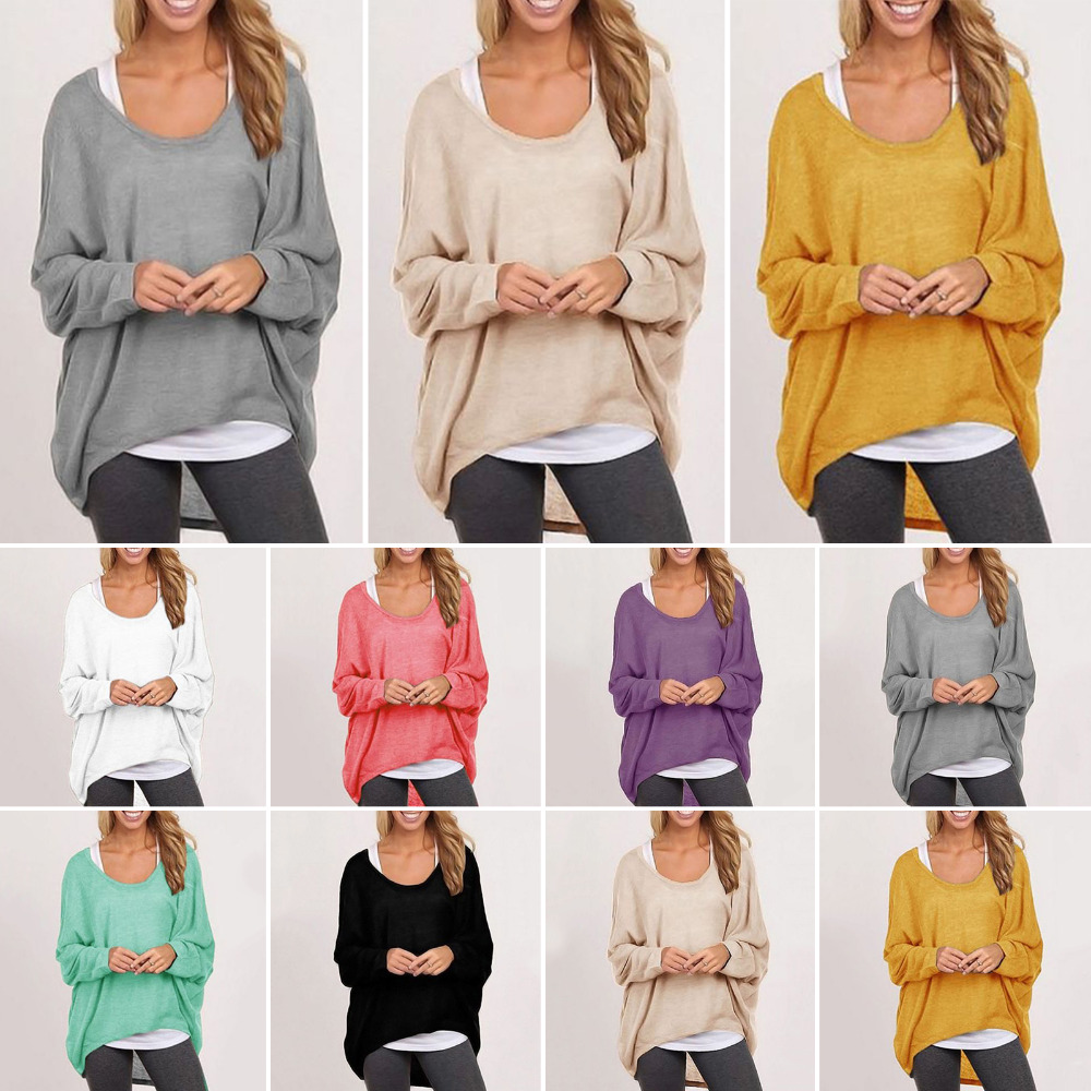 Winter Women Baggy Sweater High Low Irregular Crewneck Knitting ...