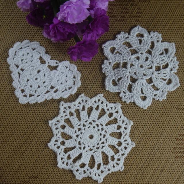 Hecho a mano 3D Rosa patrón hecho a mano de Ganchillo Doilies ...