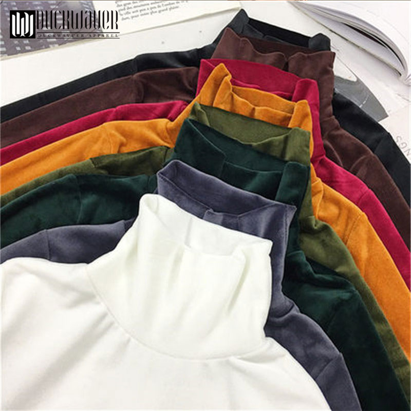 New Spring Women Turtleneck T Shirt Tees Warm Thick Velvet T-Shirts Female Bottoming Long Sleeve Shirt Tops