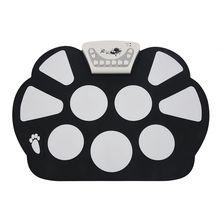 W758 Цифровой Портативный 9 Pad музыкальный инструмент Электронный рулонный барабан комплект