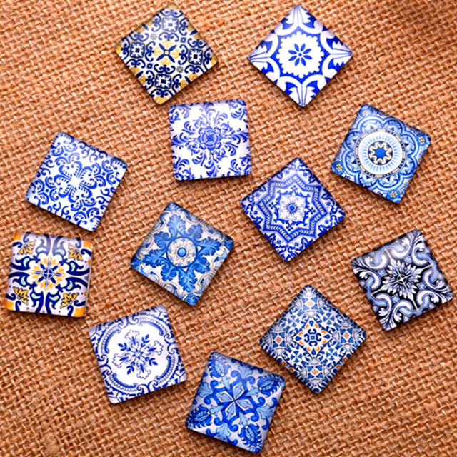 Blue White Porcelain Square Pattern Fit DIY Jewelry Making
